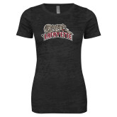 Next Level Ladies Junior Fit Black Burnout Tee-Primary Mark