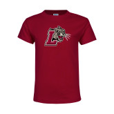 Youth Maroon T Shirt-Mascot with L
