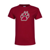 Youth Maroon T Shirt-Paw