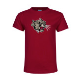Youth Maroon T Shirt-Mascot Head