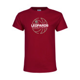 Youth Maroon T Shirt-Basketball Outline