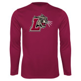 Performance Maroon Longsleeve Shirt-Mascot with L