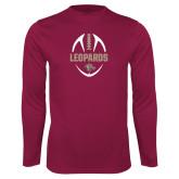 Performance Maroon Longsleeve Shirt-Football Outline