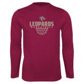 Performance Maroon Longsleeve Shirt-Leopards Basketball