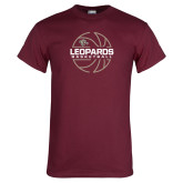 Maroon T Shirt-Basketball Outline
