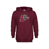 Youth Maroon Fleece Hoodie-Mascot with L