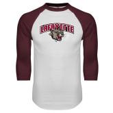 White/Maroon Raglan Baseball T Shirt-Secondary Mark