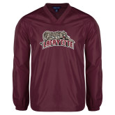 V Neck Maroon Raglan Windshirt-Primary Mark