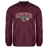 V Neck Maroon Raglan Windshirt-Secondary Mark