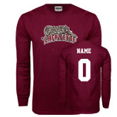 Maroon Long Sleeve T Shirt-Primary Mark, Custom Tee w/ Name and #s