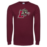Maroon Long Sleeve T Shirt-Mascot with L
