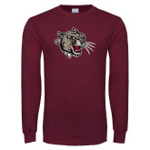 Maroon Long Sleeve T Shirt-Mascot Head
