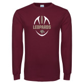 Maroon Long Sleeve T Shirt-Football Outline