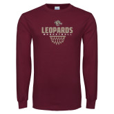 Maroon Long Sleeve T Shirt-Leopards Basketball