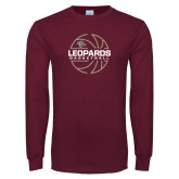 Maroon Long Sleeve T Shirt-Basketball Outline