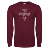 Maroon Long Sleeve T Shirt-Leopards Lacrosse