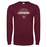 Maroon Long Sleeve T Shirt-Soccer Outline