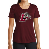 Ladies Performance Maroon Tee-Mascot with L