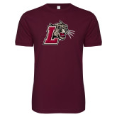 Next Level SoftStyle Maroon T Shirt-Mascot with L