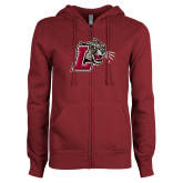 ENZA Ladies Maroon Fleece Full Zip Hoodie-Mascot with L