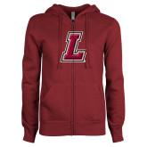 ENZA Ladies Maroon Fleece Full Zip Hoodie-L