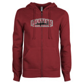 ENZA Ladies Maroon Fleece Full Zip Hoodie-Cross Country