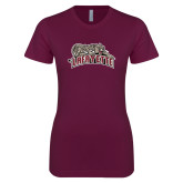Next Level Ladies SoftStyle Junior Fitted Maroon Tee-Primary Mark