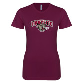 Next Level Ladies SoftStyle Junior Fitted Maroon Tee-Secondary Mark
