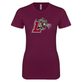 Next Level Ladies SoftStyle Junior Fitted Maroon Tee-Mascot with L