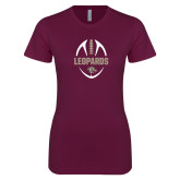 Next Level Ladies SoftStyle Junior Fitted Maroon Tee-Football Outline