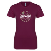 Next Level Ladies SoftStyle Junior Fitted Maroon Tee-Basketball Outline