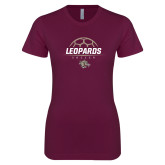 Next Level Ladies SoftStyle Junior Fitted Maroon Tee-Soccer Outline