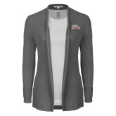 Ladies Heather Grey Open Front Cardigan-Primary Mark