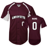 Replica Maroon Adult Baseball Jersey-Personalized