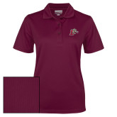 Ladies Maroon Dry Mesh Polo-Mascot with L