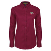 Ladies Maroon Twill Button Down Long Sleeve-Mascot with L