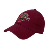 Maroon Twill Unstructured Low Profile Hat-Mascot with L