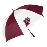 62 Inch Maroon/White Vented Umbrella-Mascot with L