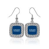 Crystal Studded Square Pendant Silver Dangle Earrings-Primary Stacked