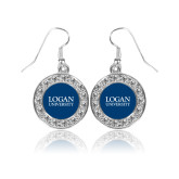 Crystal Studded Round Pendant Silver Dangle Earrings-Primary Stacked