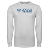White Long Sleeve T Shirt-Word-Mark and Mascot