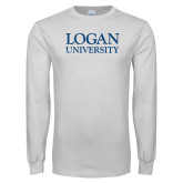 White Long Sleeve T Shirt-Logan University Distressed