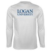 Performance White Longsleeve Shirt-Primary Stacked