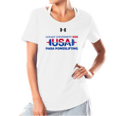 Ladies Under Armour White Charged Cotton Tee-USA Para Powerlifting