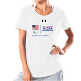 Ladies Under Armour White Charged Cotton Tee-New USA Para Powerlifting