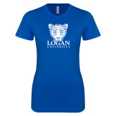 Next Level Ladies SoftStyle Junior Fitted Royal Tee-Primary with Mascot