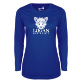 Ladies Syntrel Performance Royal Longsleeve Shirt-Primary with Mascot