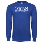 Royal Long Sleeve T Shirt-Logan University Distressed