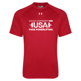 Under Armour Red Tech Tee-USA Para Powerlifting