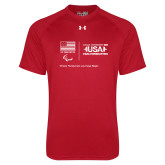 Under Armour Red Tech Tee-New USA Para Powerlifting